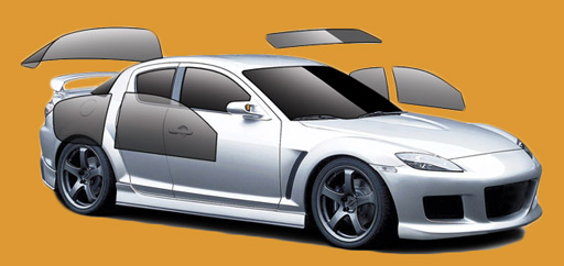 Car window tinting graphic example